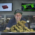 """Robert Taft Jr., director of the licensed 420 Central dispensary, with Ocean Grown Jack Herer sativa. """"I'm fighting for the patients we have. People want to go to a safe store."""" Photo Credit, Orange County Register report, 3/29/16"""