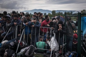 """Photo from The New York Times 9/21 article. They report """"Migrants in Bregana, Croatia, near the border with Slovenia. Authorities in Slovenia on Sunday were halting migrants at its border with Croatia to the south and allowing them to pass in small groups."""""""