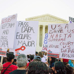 Demonstrators gathered outside the Supreme Court on Monday as it heard a challenge to President Obama's plan to shield millions of immigrants from deportation and allow them to work. Photo Credit, New York Times report, 4/18/16